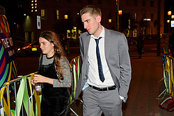 © Licensed to London News Pictures. 24/09/2016. Liverpool, UK. SEB CORBYN, the son of Jeremy Corbyn who works for Shadow chancellor John Mcdonnell,  arrives to celebrate the re-elected of Labour Party Leader Jeremy Corbyn at a party organised by Momentum in Liverpool.  Photo credit: Ben Cawthra/LNP