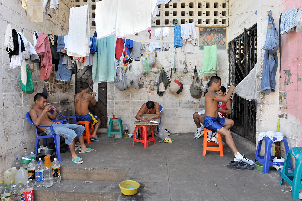 Prisoners, many former gang members, make hammocks and other items as a way to earn money in a prison in Sensuntepeque, El Salvador.
