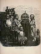 Malay Children from The merchant vessel : a sailor boy's voyages to see the world [around the world] by Nordhoff, Charles, 1830-1901 engraved by C. LaPlante; some illustrations by W.L. Wyllie Publisher New York : Dodd, Mead & Co. 1884