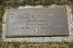 31 August 2017:   Veterans graves in Park Hill Cemetery in eastern McLean County.<br /> <br /> Loris C Rodgers  Private First Class  US Army  World War II  May 22 1924  Jan 29 2006