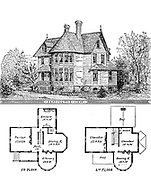 Gothic Cottage architectural plan and layout From Godey's Lady's Book and Magazine, Vol 101 July to December 1880 published in Philadelphia