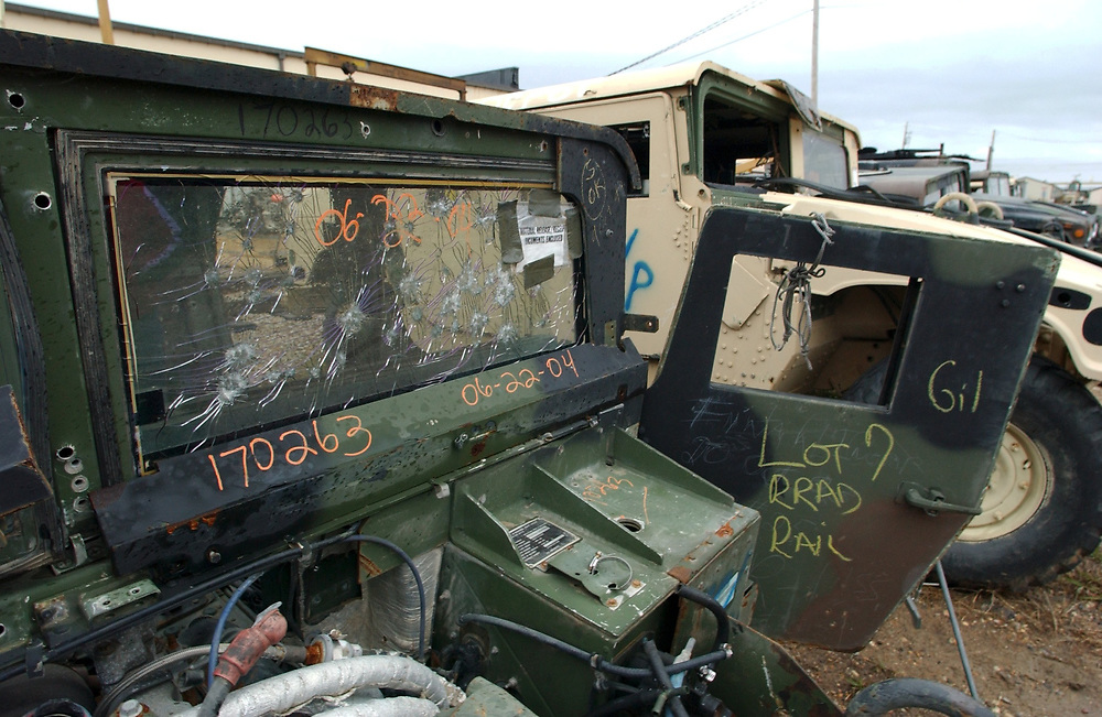Texarkana, Texas 22NOV04: Red River Army Depot. Damaged Humvees await repairs before being returned to the war in Iraq.  Round-the-clock shifts of mechanics are working at the 33,000-acre base in northeast Texas. <br /> ©Bob Daemmrich/