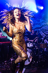 © Licensed to London News Pictures. 12/03/2014. London, UK.   Ella Eyre performing live at XOYO. Ella Eyre (real name Ella McMahon) is a British female singer and songwriter who was nominated for a 2014 Brit Award in the 'Critics Choice' category, was ranked second in the BBC Sound of 2014 list, and is known for her collaborations with Rudimental and Naughty Boy and has also featured on Tinie Tempah's album 'Demonstration'. Photo credit : Richard Isaac/LNP