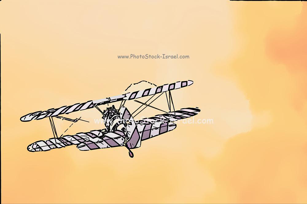Digitally enhanced rear view image of a biplane in flight