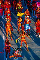 Participants of a mas band cross the stage at the Trinidad Carnival, Queen's Park Savannah, Port of Spain, Trinidad and Tobago