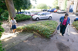 Different paths of access: conventional steps or a smooth ramp for easier access for people with physical disabilities,