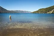 Man fishing, Lago Hermoso, Neuqu?n Region, Argentina, South America