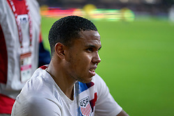 March 21, 2019 - Orlando, FL, U.S. - ORLANDO, FL - MARCH 21: United States midfielder Weston McKennie (8) looks on as he is carried off the field by the medical team after enduring a leg/ankle injury in game action during an International friendly match between the United States and Ecuador on March 21, 2019 at Orlando City Stadium in Orlando, FL. (Photo by Robin Alam/Icon Sportswire) (Credit Image: © Robin Alam/Icon SMI via ZUMA Press)
