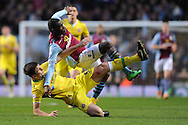 Sheffield Utd's Harry Maguire fouls Aston Villa's Christian Benteke during the FA Cup with Budweiser, 3rd round, Aston Villa v Sheffield Utd match  at Villa Park in Birmingham, England on Saturday 4th Jan 2014.<br /> pic by Jeff Thomas, Andrew Orchard sports photography.