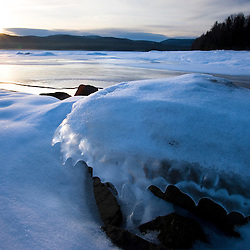 The outlet of Second Connecticut Lake in winter.  Dawn.  Pittsburg, New Hampshire.  Connecticut River.