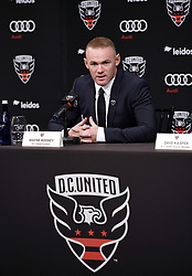 English international soccer player Wayne Rooney speaks  during the media unveiling at the Newseum in Washington, DC.