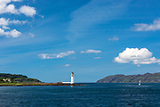 Lighthouse in Sound of Mull near Tobermory on the Isle of Mull in the Western Isles of Scotland - Inner Hebrides