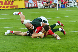 Matt Mullins of Canada scores a try<br /> <br /> Photographer Craig Thomas/Replay Images<br /> <br /> World Rugby HSBC World Sevens Series - Day 2 - Friday 6rd December 2019 - Sevens Stadium - Dubai<br /> <br /> World Copyright © Replay Images . All rights reserved. info@replayimages.co.uk - http://replayimages.co.uk