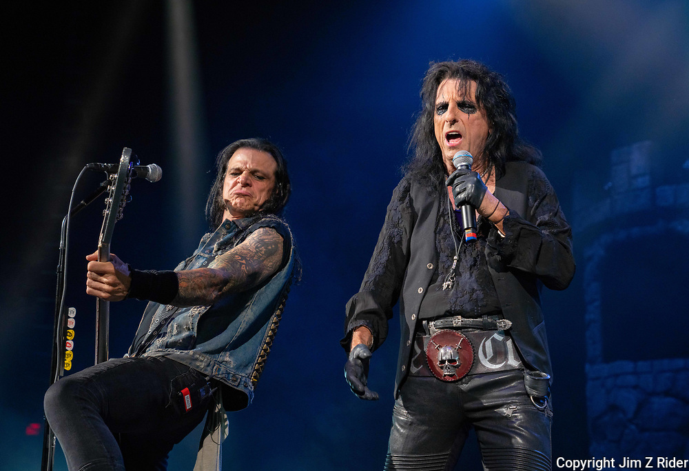 After nearly 19 months off stage, Rock and Roll legend ALICE COOPER, 73, launches his fall 2021 tour at Ocean Casino Resort in Atlantic City, New Jersey.  Base player CHUCK GARRIC is at left.