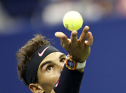NEW YORK, Sept. 9, 2017  Rafael Nadal of Spain serves to Juan Martin del Potro of Argentina during the men's singles semifinal match at the 2017 U.S. Open in New York, the United States, Sept. 8, 2017. Rafael Nadal won 3-1 to enter the final. (Credit Image: © Qin Lang/Xinhua via ZUMA Wire)