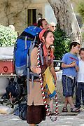 Israel, Jerusalem, Old City, young female backpacker tourist