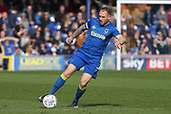 AFC Wimbledon defender Barry Fuller (2) dribbling during the EFL Sky Bet League 1 match between AFC Wimbledon and Scunthorpe United at the Cherry Red Records Stadium, Kingston, England on 7 April 2018. Picture by Matthew Redman.