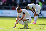 Gylfi Sigurdsson of Swansea city looks dejected at the end of the match. Premier league match, Swansea city v Middlesbrough at the Liberty Stadium in Swansea, South Wales on Sunday 2nd April 2017.<br /> pic by Andrew Orchard, Andrew Orchard sports photography.