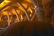 A big vat and the roof construction that gives associations to a cathedral carved in the rock. Chateau Romanin, Saint Remy de Provence, Bouches du Rhone, Provence, France, Europe