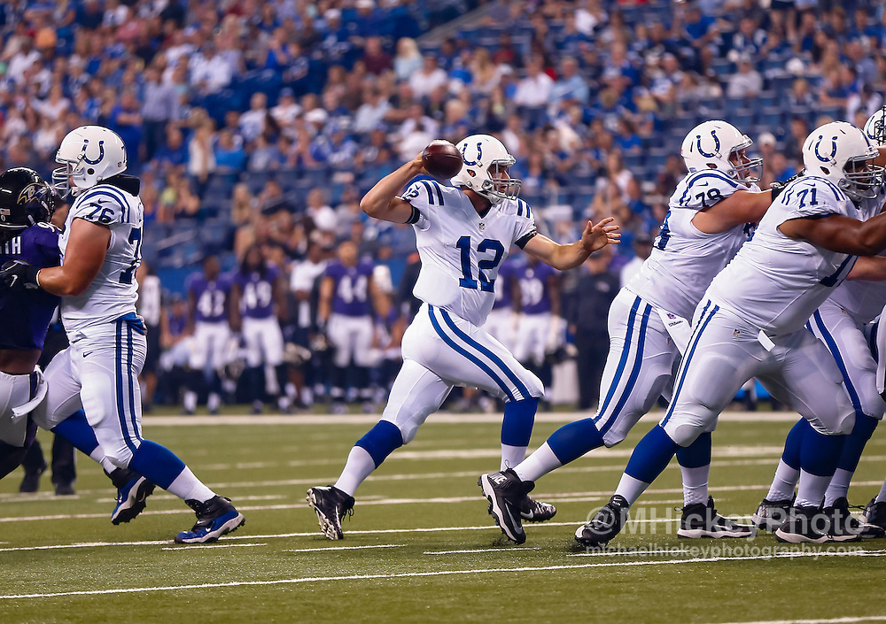 INDIANAPOLIS, IN - AUGUST 20: Andrew Luck #12 of the Indianapolis Colts is seen during the game against the Baltimore Ravens] at Lucas Oil Stadium on August 20, 2016 in Indianapolis, Indiana.  (Photo by Michael Hickey/Getty Images) *** Local Caption *** Andrew Luck