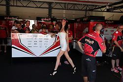 July 8, 2018 - Misano, Italy, Italy - Partner of 33 Marco Melandri ITA Ducati Panigale R Aruba.it Racing - Ducati during the Motul FIM Superbike Championship - Italian Round  Sunday race during the World Superbikes - Circuit PIRELLI Riviera di Rimini Round, 6 - 8 July 2018 on Misano, Italy. (Credit Image: © Fabio Averna/NurPhoto via ZUMA Press)