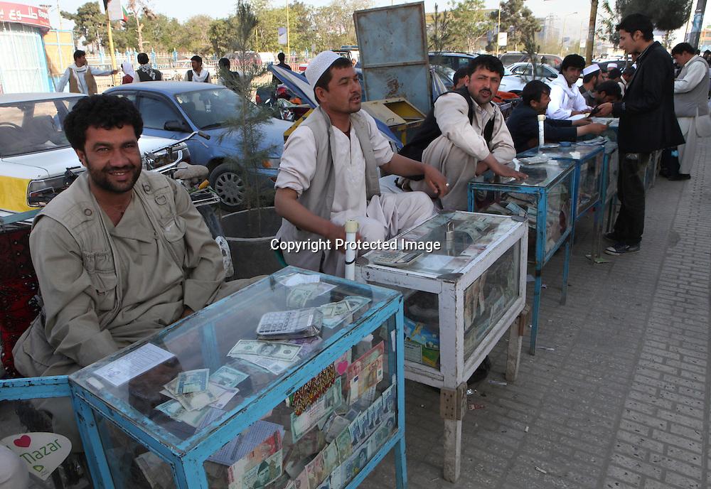 exchanging money at the bazaar in Mazar-i-sharif (afghanistan)