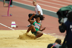 London, August 11 2017 . Blessing Okagbare-Ighoteguonor, Nigeria, in the women's long jump final on day eight of the IAAF London 2017 world Championships at the London Stadium. © Paul Davey.
