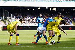 April 8, 2018 - Napoli, Napoli, Italy - Naples - Italy 08/04/2018.DRIES MERTENS of  S.S.C. NAPOLI   and INGLESE ROBERTO of CHIEVO VERONA  fights for the ball during SERIE A TIM  match between S.S.C. NAPOLI and CHIEVO VERONA  at Stadio San Paolo of Naples..Final scores S.S.C. NAPOLI - CHIEVO VERONA 2-1  (Credit Image: © Emanuele Sessa/Pacific Press via ZUMA Wire)