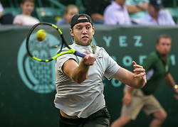 April 13, 2018 - Houston, TX, U.S. - HOUSTON, TX - APRIL 13:  Jack Sock of the United States hits the return in the match against Taylor Fritz of the United States during the Quarterfinal round of the Men's Clay Court Championship on April 13, 2018 at River Oaks Country Club in Houston, Texas.  (Photo by Leslie Plaza Johnson/Icon Sportswire) (Credit Image: © Leslie Plaza Johnson/Icon SMI via ZUMA Press)