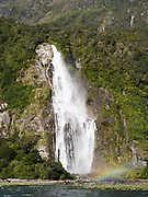 View of Bowen Falls, Milford Sound, Fiordland National Park, New Zealand