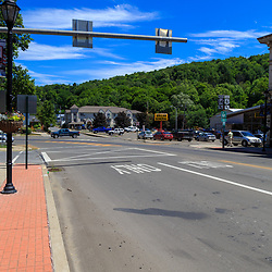 Troy, PA - July 26, 2016: US Route 6, often described as one of the most scenic routes in America, is the main street in Troy.