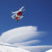 Gus Kenworthy, USA, in action during his third place finish in the Men's Halfpipe Finals during The North Face Freeski Open at Snow Park, Wanaka, New Zealand, 3rd September 2011. Photo Tim Clayton..