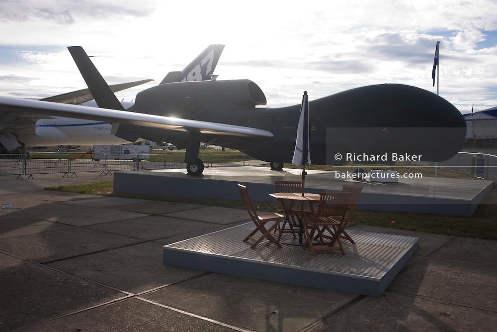 A full-scale model of Northrup Grumman's Global Hawk UAV military drone.