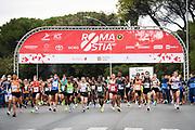Foto Massimo Paolone/LaPresse <br /> 17 ottobre 2021 Roma, Italia <br /> sport <br /> Roma Ostia Half Marathon 2021<br /> Nella foto: la partenza della gara con Adisa Sola e Daniele Meucci<br /> <br /> Photo Massimo Paolone/LaPresse <br /> October 17, 2021 Rome, Italy <br /> sport <br /> Roma Ostia Half Marathon 2021 <br /> In the pic: the start of the race with Adisa Sola and Daniele Meucci