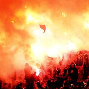 MKE Ankaragucu's Supporters fans during their Turkish Superleague soccer match Ankaragucu between Fenerbahce at the 19 Mayis stadium in Ankara Turkey on Sunday 08 January 2012. Photo by TURKPIX