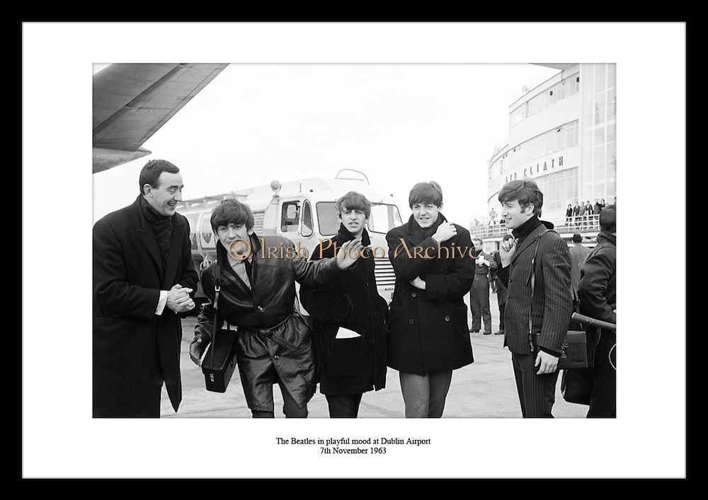 The Beatles in playful mood at Dublin Airport<br /> 7th November 1963