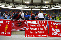 Liverpool fans hang banners in the stands ahead of the UEFA Champions League, Semi Final, Second Leg at the Stadio Olimpico, Rome.