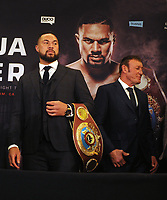 Boxing - 2018 Anthony Joshua-Joseph Parker Press Conference - Dorchester Hotel, London<br /> <br /> Joseph Parker arrives with his WBO Belt to face the media ahead of the World Heavyweight title unification fight with Kevin Barry - trainer (to his right).<br /> <br /> COLORSPORT/ANDREW COWIE