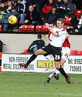 Photo: Mark Stephenson.<br />Walsall v Barnet. Coca Cola League 2. 24/02/2007. Barnet's goal scorer Oliver Allen shoot's at goal