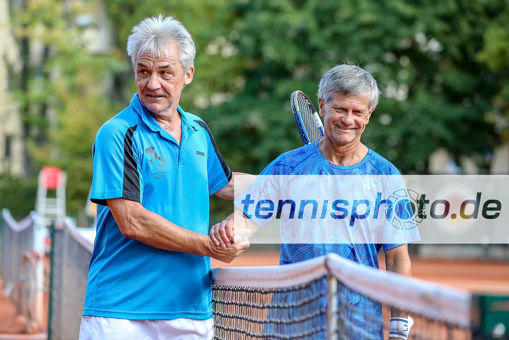 Norbert Walter (TC Grün-Weiss Nikolassee 1925) und Norbert Schwenzer (Sportverein Blau-Weiß 69 Parchim e.V.), Grunewald Open 2018 - Senioren, Finals, Berlin, 16.09.2018, Foto: Claudio Gärtner