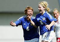 Fotball<br /> Four Nations Tournament Female U17<br /> 3rd place match<br /> Finland v Denmark 2-0 / Finland v Danmark 2-0<br /> 14.05.2006<br /> Foto: Morten Olsen, Digitalsport<br /> <br /> Katariina Henriksson / Ilves (10) celebrating her goal to 2-0 with Anna Westerlund / SCR (6)