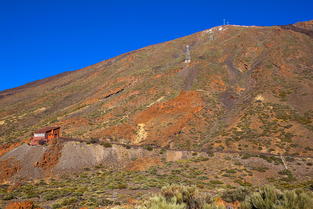 Cable car, or telerific, at Teide National Park, Parque nacional del Teide. The volcanic Mount Teide, or Pico del Teide, Tenerife, Canary Islands - at 3,718 high, it's the third highest volcano in the world after Hawaii, rising 7,500m from the ocean floor.