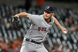September 20, 2017 - Baltimore, MD, USA - Boston Red Sox pitcher Chris Sale records his 300th strikeout of the season against the Baltimore Orioles at Oriole Park at Camden Yards in Baltimore on Wednesday, Sept. 20, 2017. Sale struck out 13 as the Red Sox won, 9-0. (Credit Image: © Lloyd Fox/TNS via ZUMA Wire)