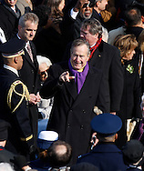 President George H. W. Bush at the swearing in ceremony during the Inauguration on January 20, 2009.  Photograph:  Dennis Brack