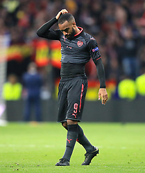 Arsenal's Alexandre Lacazette shows his dejection after the final whistle of the UEFA Europa League, Semi Final, Second Leg at Wanda Metropolitano, Madrid.