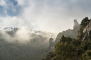 View of mountains under cloudy sky, Corte, Corsica, France