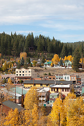 """""""Downtown Truckee in the Fall 2"""" - This is a photograph of homes and buildings in Downtown Truckee, CA in the fall."""