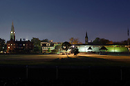 Goshen, N.Y. - The Historic Track grandstand and church steeples are visible in a nighttime scene on Oct. 7, 2006. The camera shutter was open for 20 seconds.