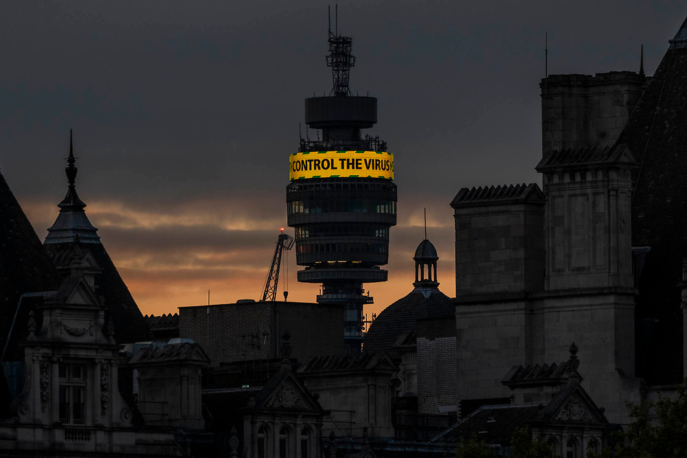 The BT tower displays messages about the virus, including the new Stay Alert, as well as messages of thanks for International Nurses Day - the 'lockdown' continues for the Coronavirus (Covid 19) outbreak in London.