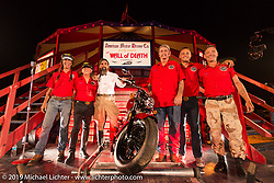 The American Motordrome Wall of Death crew during Saturday night's reveal of the new 2015 Indian Scout during the Sturgis Black Hills Rally. Sturgis, SD, USA. August 2, 2014.  Photography ©2014 Michael Lichter.
